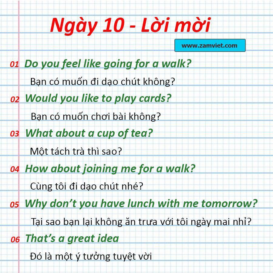 Ngày 10: Lời mời, lời mời hàng ngày được sử dụng nhiều  - Từ vựng tiếng anh cơ bản mỗi ngày