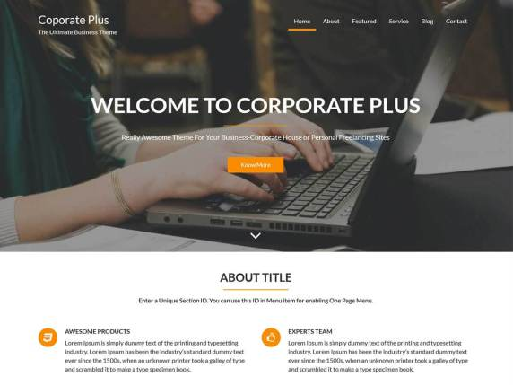 The Corporate Plus demo page.