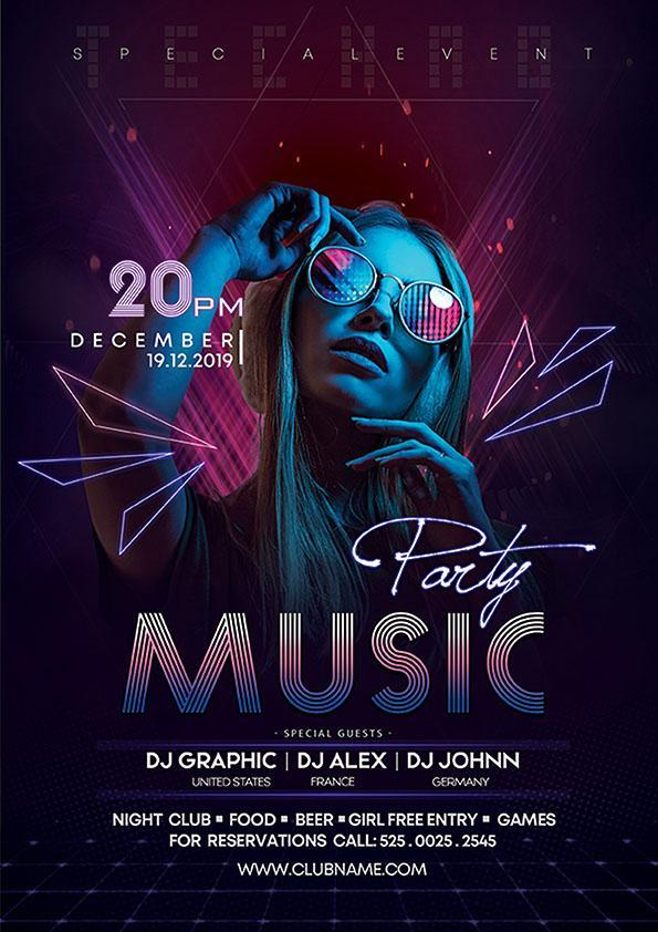 Music Neon Night Party Poster