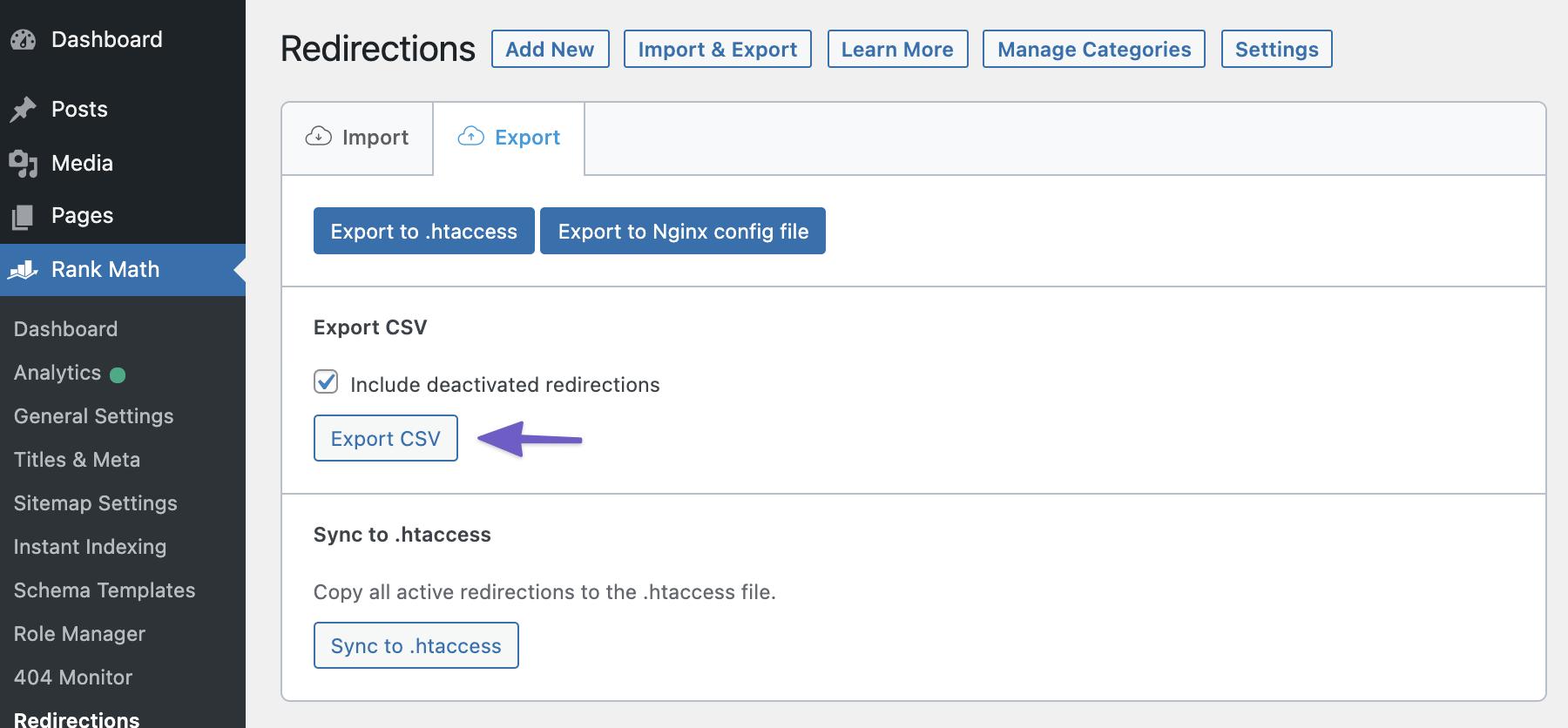 Export Redirect CSV