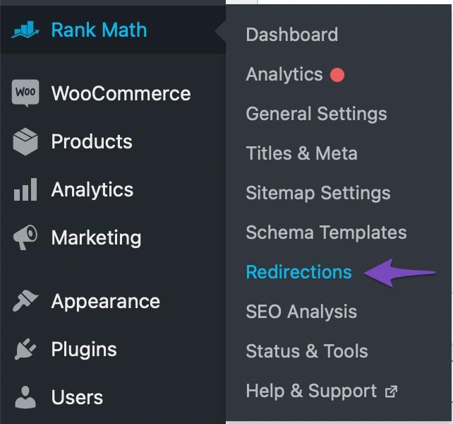 Rank Math Redirections