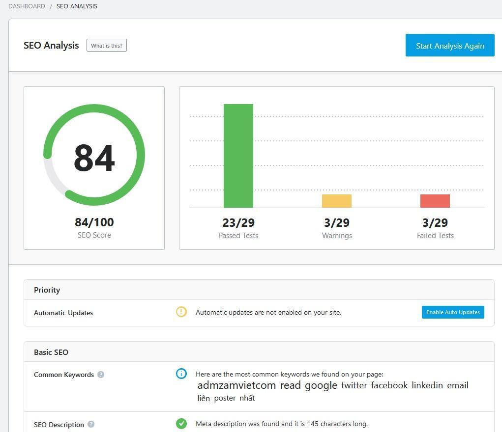 Rank Math Seo Analysis kiểm tra audit website