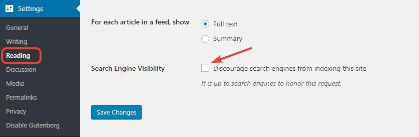 Search Engine Visibility In WordPress