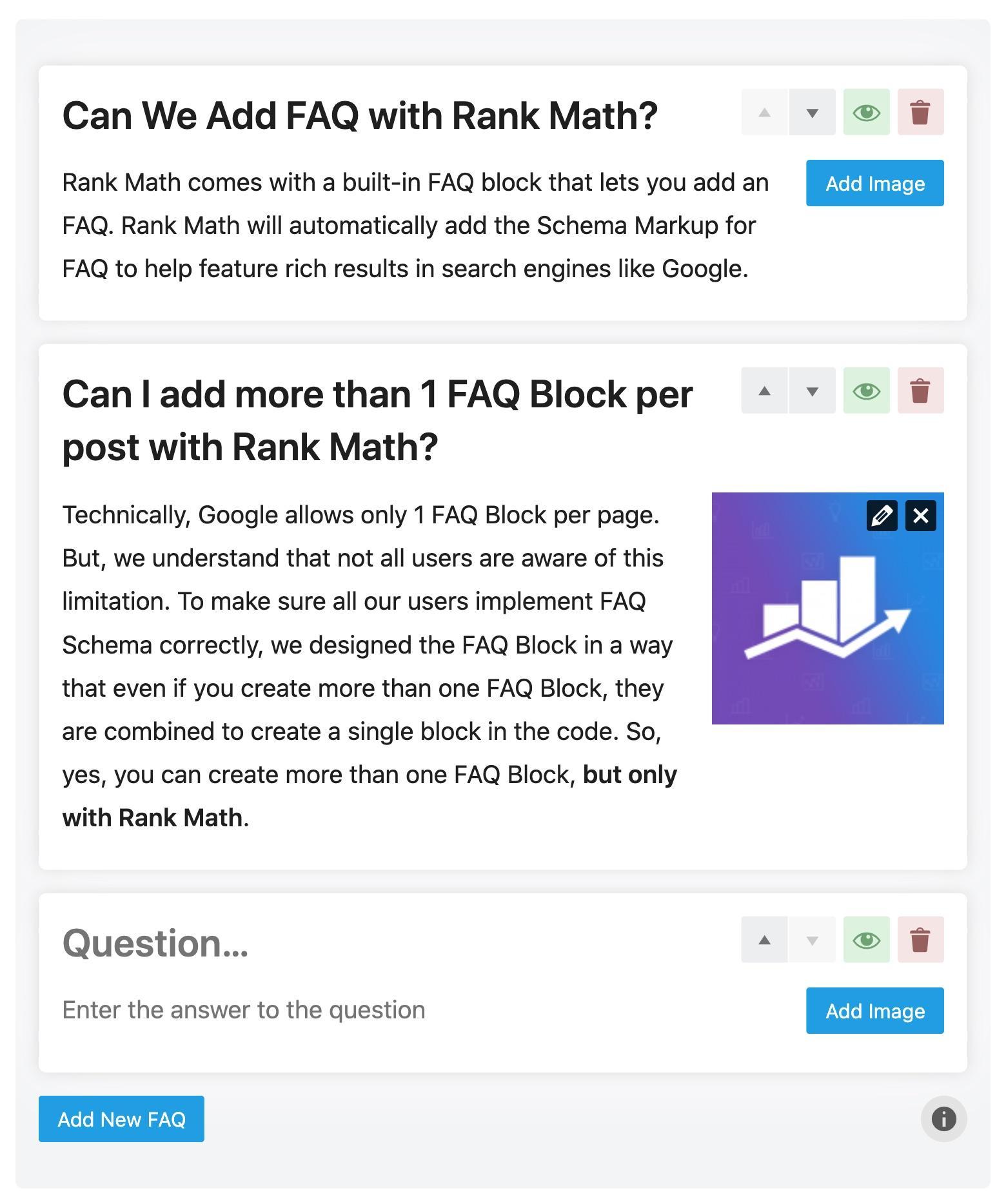 Rank Math FAQ block editor