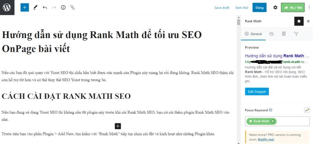 Rank Math SEO trong Block Editor