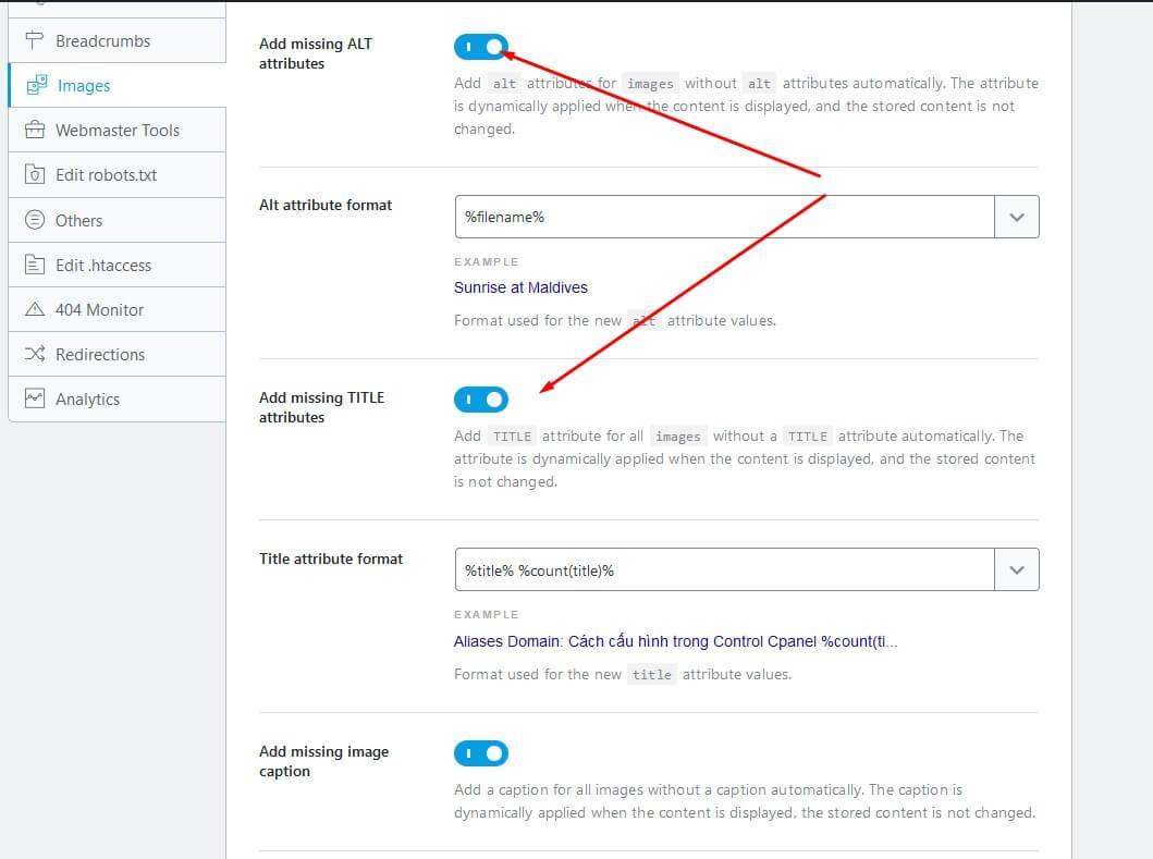 Bật 2 tùy chọn hỗ trợ images seo trong Rank Math SEO