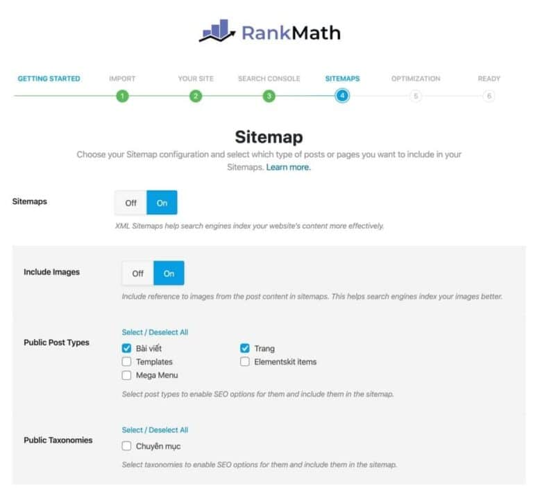 Bước thiết lập Sitemap trong Rank Math SEO