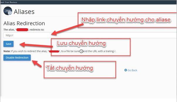 Giao diện chỉnh sửa thông tin Aliases Domain