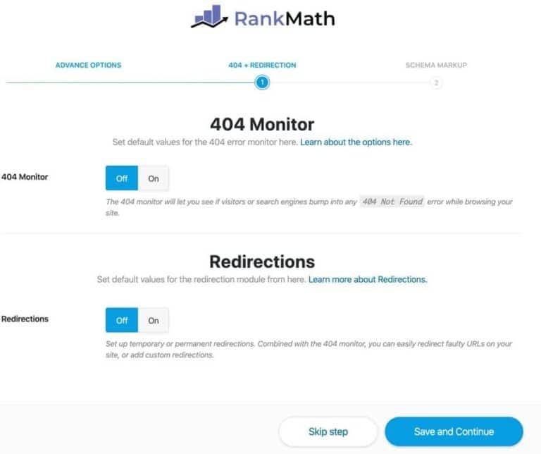 Thiết lập 404 Monitor và Redirections trong Rank Math SEO